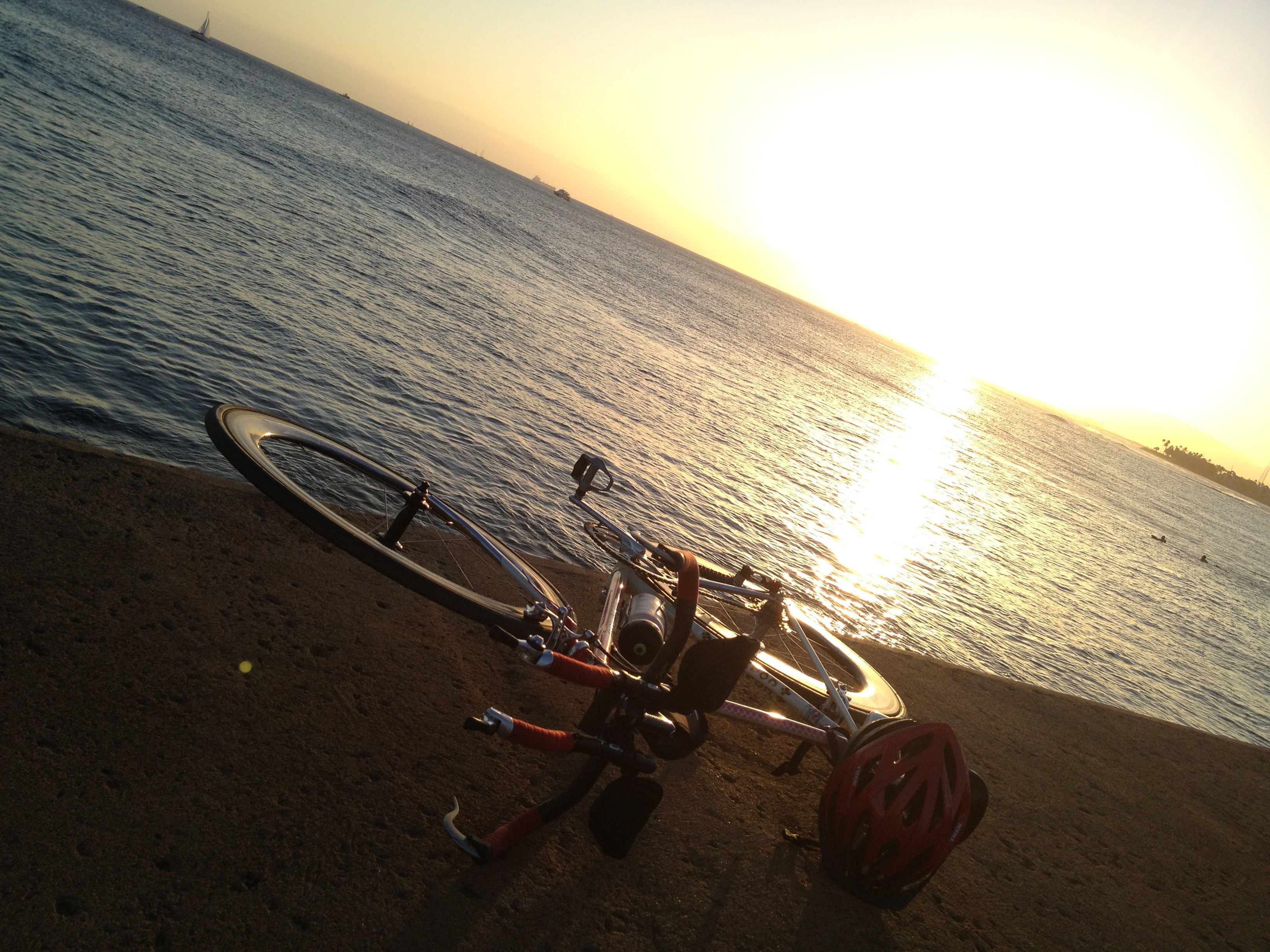 Honolulu sunset and my bike.